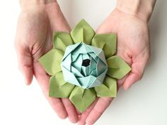 Origami Lotus Flower in Robin's Egg Blue and Moss by fishandlotus, $6.95