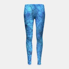 """Turquoise blue zentangles"" Girl's Leggings by Savousepate on Live Heroes #leggings #leggins #pants #kidsapparel #kidsclothing #pattern #graphic #modern #abstract #doodles #zentangles #scrolls #spirals #arabesques #blue #turquoise #aqua"