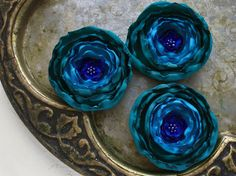Fabric flowers in  teal turquoise and royal blue  3 big by Likron, $9.00