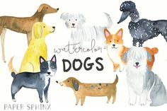Watercolor Dogs Clipart Pets Clip Art Watercolor by PaperSphinx