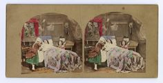 Stereocard depicting a woman on her death bed with an angelic ghost hovering above her and a women and girl at her bedside, by an unknown photographer