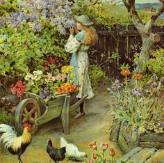 """An English Cottage Garden"" - William Stephen Coleman"
