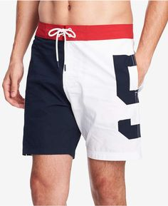 Tommy Hilfiger Men's Pier 85 Colorblocked Board Shorts, Created For Macy's In Navy Blazer/ Bright White Mens Cotton Shorts, Linen Shorts, Tommy Hilfiger Chinos, Swim Trunks, Camisa Polo, Man Swimming, Well Dressed Men, Boys T Shirts, Man Fashion