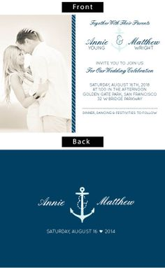 The Nautical Anchor photo wedding invitations.  This stunning double sided invite allows you to personalize each elements' color all the way down to the anchor.