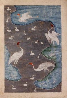 17th C. Birds in a Silver River, Indian miniature with silver on paper. Deccan, India. Islamic.