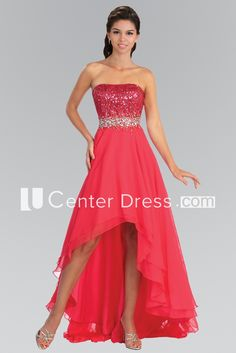 A-Line High-Low Strapless Sleeveless Chiffon Dress With Sequins And Beading