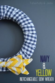 navy and yellow interchangeable bow wreath