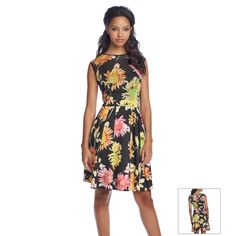 Gabby Skye® Floral Laser-Cut Fit And Flare Dress