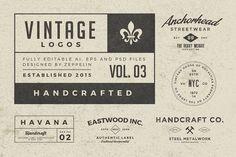 Vintage Logos Set 3 Templates Vintage Logos Set set contains 25 logos, AI, EPS and PSD editable files.Easy to modify, edi by Zeppelin Graphics Vintage Logos, Retro Logos, Vintage Labels, Business Brochure, Business Card Logo, Zeppelin, Logos Ideas, Logo Creation, Branding