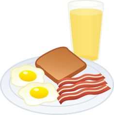 Eggs Bacon Toast and Juice - Free Clip Art