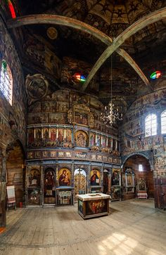 George's Church in Drohobych, Ukraine - built in the century without any nails. Russian Architecture, Church Architecture, Classical Architecture, Church Interior, Russian Orthodox, Orthodox Icons, Place Of Worship, Kirchen, Religious Art