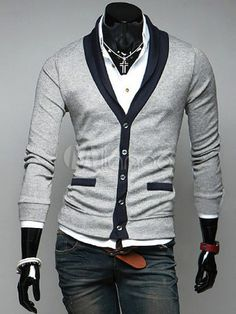 [$19.99] Two-Tone Cotton Single-Breasted Long Sleeves Stylish Men's Cardigan