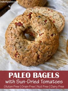 These healthy,gluten free bagels are perfect for an easy to make breakfast.  They are boiled then baked, creating an authentic, chewy bagel texture.  These bagels are Paleo, nut free, dairy free and lightly sweetened. #paleobagels #sundriedtomatoes #tomatobagels #grainfree #paleobreakfast #bagelrecipe Easy To Make Breakfast, Sweet Potato Breakfast, Paleo Breakfast, Breakfast Ideas, Breakfast Recipes, Free Breakfast, Brunch Recipes, Dinner Recipes, Gluten Free Bagels