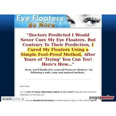 Eye Floaters No More - Get Rid of Eye Floaters Easily Naturally and Forever  #BikeRiding #EatHealthyQuotes #Exercise #GetOutAndRun #Health #HealthyMeals #HealthyRecipes #LiveLonger #LoseWeight #LoseWeightInAWeek #WeightLoss http://ift.tt/2tRWwGc