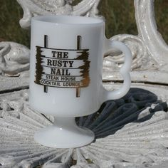 The Rusty Nail Steak House and Cocktail Lounge Restaurant Mug, Footed Milk Glass #TheRustyNail
