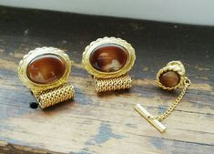 Vintage Cuff Links & Tie Tack Set Tiger Eye and Gold Mesh 70's Men's Fashion Jewelry Vintage Men's Suit Accessory by OffbeatAvenue on Etsy