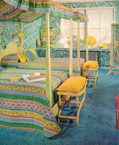 I would have LOVED those beds and bedspreads as a kid. The wallpaper, no way.