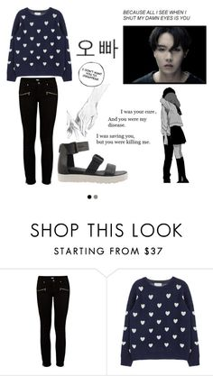"""I was saving you • you were killing me"" by polkadots22 on Polyvore featuring Paige Denim, bts and Jhope"