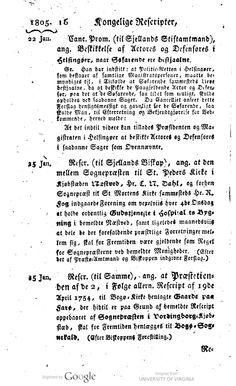 Farø præstetiende overføres fra præsteembedet i Vordingborg til Bogø Sognekald fra 25. januar 1805. Referat af kongeligt reskript. Ifølge reskriptet var gårdene på Farø allerede i 1754 blevet henlagt fra Vordingborg til Bogø Kirke. I 1805 fulgte så også skatten med til Bogø Sognekald.  | HathiTrust |