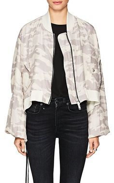 The Camouflage Silk Crop Bomber Jacket from Ben Taverniti Unravel Project at Barneys New York