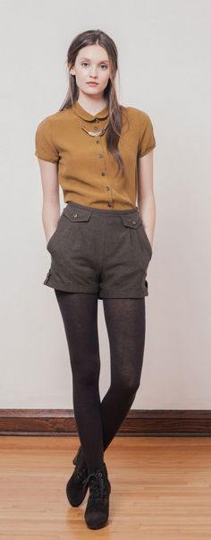 tobacco blouse, grey trouser shorts, and opaque tights with booties