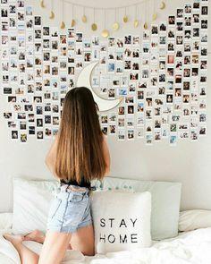 New room decor diy bedroom photos Ideas Cute Room Ideas, Cute Room Decor, Teen Room Decor, Room Decor Bedroom, Bedroom Ideas, Dorm Room, Diy Room Decor Tumblr, Bedroom Inspo, Photo Polaroid