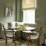 Phoebe Howard - dining rooms - green dining room, glossy green dining room, green lacquer walls, glossy green lacquer walls, dining room roman shade, fretwork roman shade, ivory and green roman shade, ivory and green geometric roman shade, geometric roman shade, ivory and green fretwork roman shade, built-in banquette, tufted banquette, green banquette, tufted built-in banquette, green built-in banquette, green tufted banquette, green tufted built-in banquette, bound sisal rug, antique…