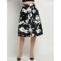 New Stylish Womens Retro Print Contrast Color Pleated High Waist Skirt