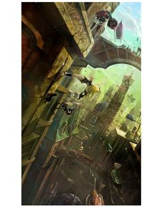 Concept Arts of the game Gravity Rush (Gravity Daze in Japan) by Takeshi Oga