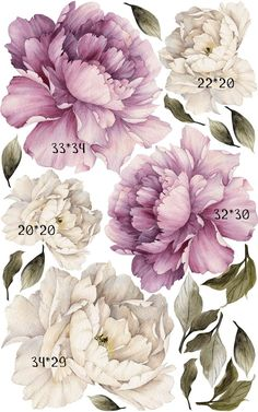 Removable Peony Wallpaper Floral Wall Decals by Little1Story | Etsy Motif Floral, Floral Wall, Botanical Drawings, Botanical Prints, Peony Flower, Flower Art, Watercolor Flowers, Watercolor Paintings, Purple Peonies