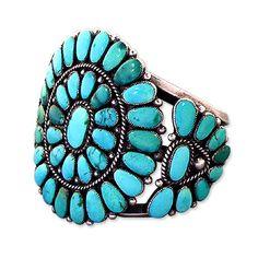 Ralph Lauren Turquoise and Silver Squash Blossom Bracelet