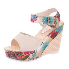 50d6c956b665 Women Sandals Platform Wedges Casual Shoes floral