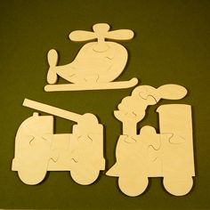 Childrens Wood Puzzles - Train Firetruck Helicopter Wooden Jigsaw Puzzle Toys - Fun for Children and Toddlers - Makes a Great Party Favor