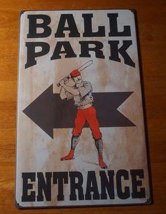 BALL PARK ENTRANCE Vintage Reproduction Retro Style Baseball Stadium Sign NEW #RusticPrimitive