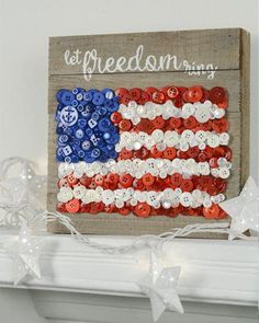 American Flag button craft - make your own unique Americana decor using red whit., DIY and Crafts, American Flag button craft - make your own unique Americana decor using red white and blue buttons! - button crafts - DIY patriotic - DIY home decor. Americana Crafts, Patriotic Crafts, July Crafts, Patriotic Decorations, Summer Crafts, Holiday Crafts, Crafts For Kids, Arts And Crafts, Crafts To Make And Sell Unique
