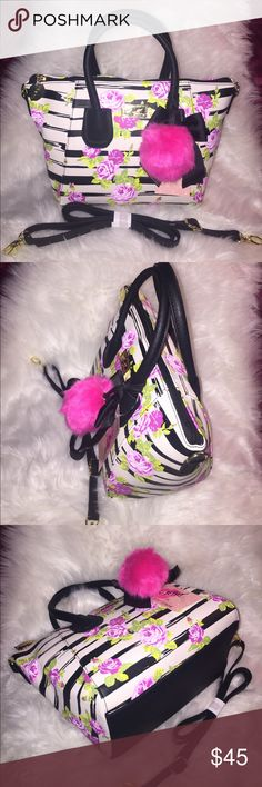 "💞👜LUV BetseyJohnson satchel handbag👜💞 Brand new! Introduce the Luv Betsey collection by BetseyJohnson. Fully-function with dual handle approx. 6"" length. Top zip closure, inside zip pocket, three pen holder and cellphone pocket. Detachable and adjustable strap. Fully lined. Removable Cute hang accessory. Perfect size, Can hold daily basic essential. Very-light and durable. Check my closet for more BrandNew items in negotiable prices. OFFER are welcome!👜👍💞💞😊😍💃🏼 Betsey Johnson Bags…"