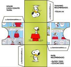 Convite Caixa Tampa Snoopy: