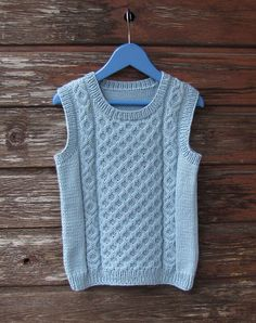 Dropps Cotton Merino Ice Blue Hand Knitted Machine Washable Sleeveless Aran Pullover (Vest) with Cables for 4-5 Years Old (104-110 cm) Boy