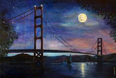 "Moonshine at Golden Gate Bridge San Francisco by marinelaArt - Acrylic Fine Art Painting on 36"" x 24"" Large Canvas"