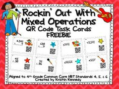 {FREE} Rockin' Out With Mixed Operations QR Code Task Cards (4.NBT 4, 5, & 6)