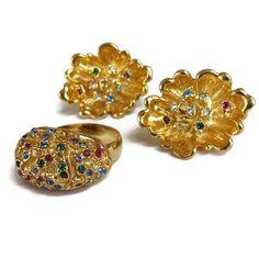 Multi Color Rhinestone Earrings and Ring Set Vintage Adjustable by MyVintageJewels on Etsy