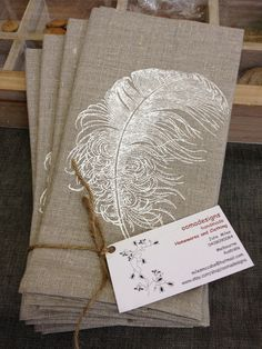 Hand Screen Printed Napkins  Feather  Flax by oomadesigns on Etsy, $30.00