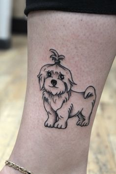 maltese dog tattoo pet on Jessica. done in black and grey.
