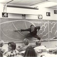 A California teacher teaching the physics of surfing (1970)