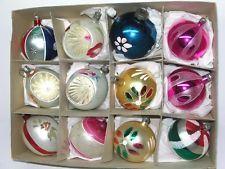 12 BEAUTIFUL VINTAGE GLASS CHRISTMAS ORNAMENTS - POLAND - INDENTS - TEAR DROP