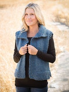ANNIE'S SIGNATURE DESIGNS: Big Time Vest Knit Pattern designed by Lena Skvagerson for Annie's. Order here: https://www.anniescatalog.com/detail.html?prod_id=132970&cat_id=2389