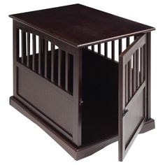 Wood Dog Crate End Table Kennel Cage Furniture Pet House Pen Espresso Small…