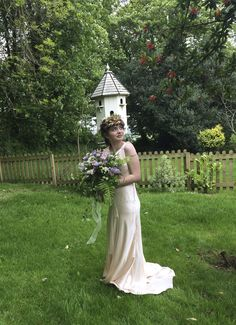 Oyster pink silk wedding dress by CT Couture.