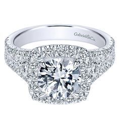 18K White Gold Filled Split Shank Diamond Engagement Ring with Cushion Halo