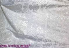 Styled Functions hires a wide variety of tablecloths for functions and weddings, ranging from damask tablecloths and scroll patterns tablecloths to french inspired tablecloths and white tablecloths and black tablecloths.